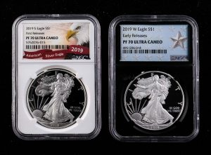 Proof Silver Eagles, each one Troy Ounce